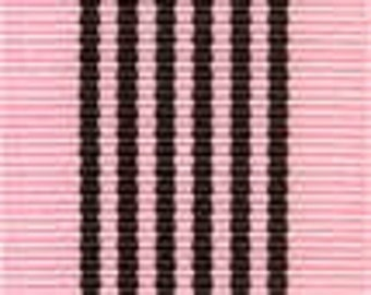 Grosgrain Ribbon - Pink with Brown Stripes - 1.5""