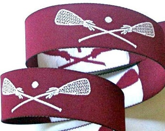 Maroon and White LACROSSE Jacquard Ribbon - 1""