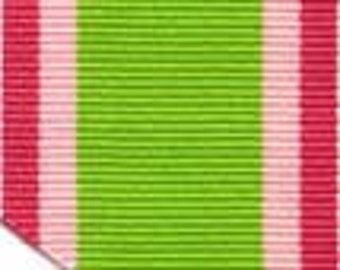Grosgrain Ribbon - PInk and Green Stripes - 1.5""