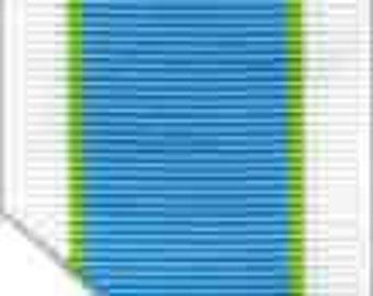 "Grosgrain Ribbon - Blue, Green and White Stripes - 1.5"""