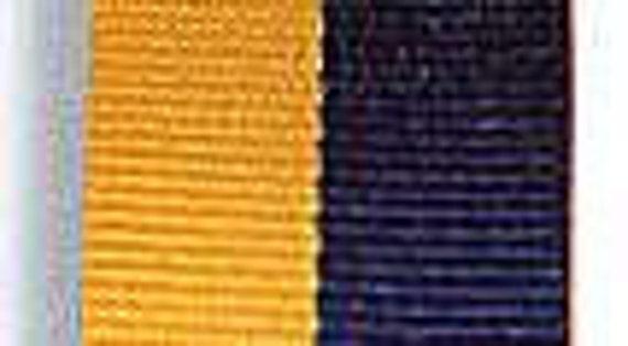 "Grosgrain Ribbon - Blue and Gold Stripe - 7/8"""