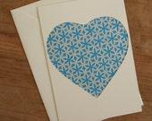 Postcard: Bright blue heart with lattice pattern