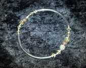 Vintage Yellow Crystal and Sterling Silver Rose Bead Bangle