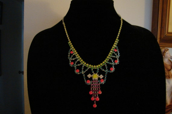 Neon Pink Yellow green and purple hand painted rhinestones