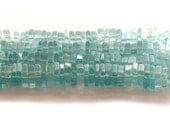 Blue Apatite Square Rondelle Beads 5mm AA Plus 8 Inch Strand Unique Gemstone For Handmade Jewelry Design