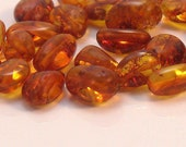 Natural Baltic Amber Honey or Cherry Cognac Oval Beads   Natural and Organic For Handmade Jewelry Design