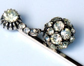 1940s Hair Pin Art Deco Crystal Rhinestone Bridal Wedding Accessory Jewelry Collectable Vintage Hair Pin For Wedding Bridal