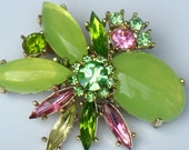 Vintage Green Moonglow Lucite and Multi Colored Rhinestone Brooch Pin Gold Tone