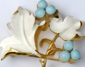 Vintage Sarah Coventry Robin Egg Blue and White Brooch Pin and Earring Set Enamel Signed 1960s Demi Parure RESERVED FOR OLGA.