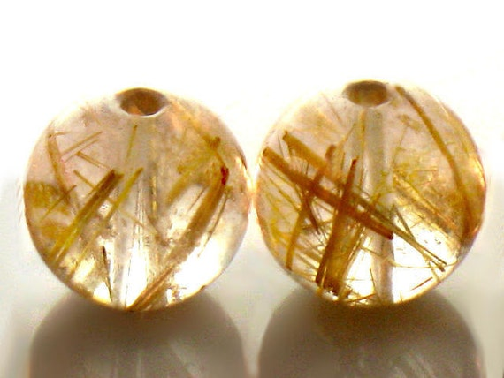RESERVED for Diana. 10mm Golden Rutilated Quartz Smooth Round Beads AA Plus Sparkling Venus Hair