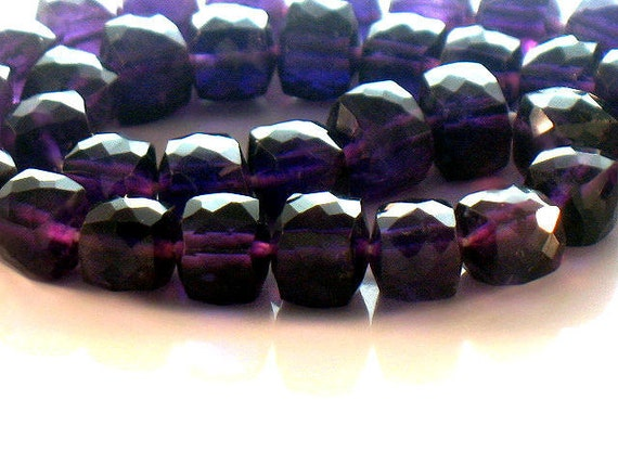8mm African Amethyst Cube Beads Faceted Designer AA Plus Royal Purple 10 inches  For Handmade Jewelry Design February Birthstone
