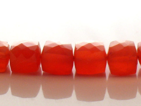 Carnelian Faceted Cube Beads AAA 10x10mm  Deep Red Orange For Handmade Jewelry Design 9 inch strand.