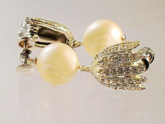 Vintage Faux Pearl Crystal Rhinestone Earrings Tulip Flower Drop  1950s Silver