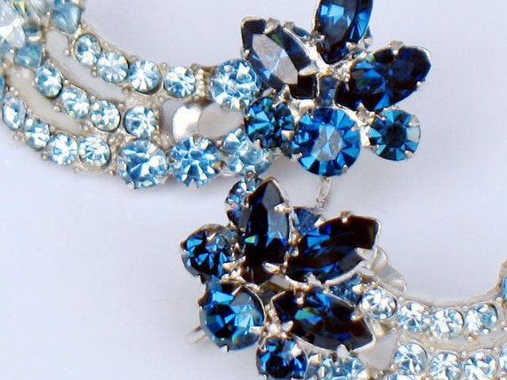 Blue Sapphire Rhinestone Comet Earrings Celestial Shooting Star Galaxy Confirmed Juliana D and E 1950s Vintage Jewelry Collectable