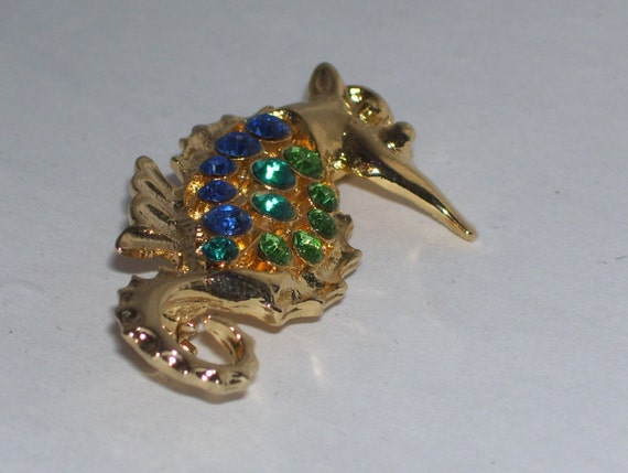 Gold Seahorse with Colorful Rhinestones Brooch