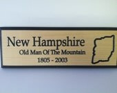 Custom Engraved New Hampshire Sign with The Great Stone Face. 5 1/2 x 15""