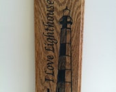 Custom Engraved Oak  Lighthouse Sign 4 3/4 x 12 Inches