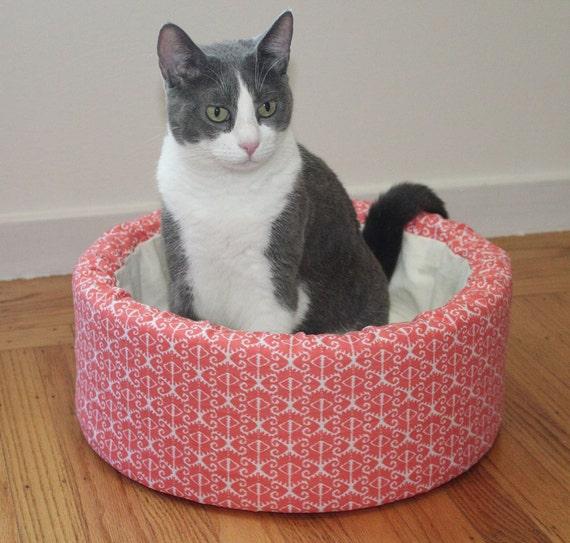 "Cat Bed, 14"" Self Warming Plush Bed in Tangerine Ikat Print"