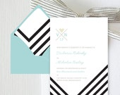 Whitman Digital Invitation (Paperless Invite, Black and White chevron stripes)
