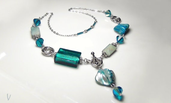 Original crystal Stellaris beads aquamarine and Mother of Pearl Nugget necklace