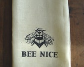 Printed cotton towel: BEE NICE  kitchen towel, cream with navy side stripes