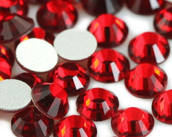 144pc Bright Red Flat Back Crystal Rhinestone (Light Siam) size available 2mm 3mm 4mm 5mm 6mm