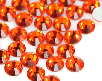 1440pcs Crystal Flatback Rhinestones Orange Hyacinth Wholesale Pack non hotfix size 2mm 3mm 4mm 5mm 6mm