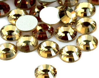 Light Gold (Light Colorado Topaz) Flat Back Crystal Rhinestone  Non-Hotfix 144pcs