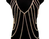 Body Chain Jewelry / Harness / Gold Vest