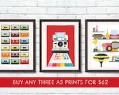 Retro prints  Any 3 A3 / 11x14  prints for 62 dollars Cathrineholm Stig Lindberg 15 percent off