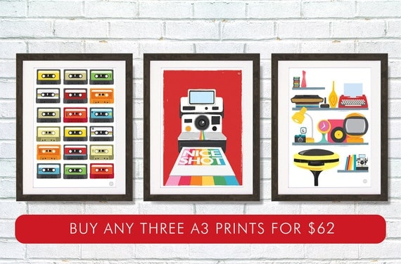 Retro prints  Any 3 A3 / 11x14  prints for 62 dollars Cathrineholm Stig Lindberg 15 percent off