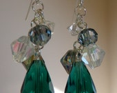 Teal teardrop cluster earrings
