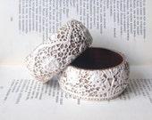Set of two Rustic Lace Wooden Wedding Bridal Bracelets Bangles