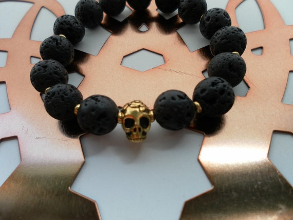 Black Lava Rocks and Gold Skull Bracelet - Stretch Bracelet - Statement Layer Bracelet - Beaded Bracelet