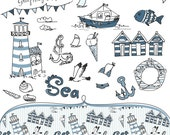 Sea clip art collage and digital seamless paper set