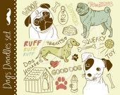 24 Dogs clip art elements. Pug puppy, Jack Russell terrier, paw print, pet care, dog food, dog house, bone,