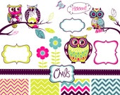 Owls Digital Clipart and Zig Zag Paper Pack - Clip art for scrapbooking, baby showers, Personal and Small Commercial Use.