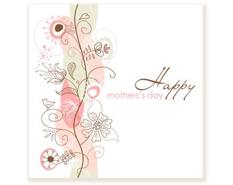 Printable Floral Hand Drawn Mother's Day card. Digital Card