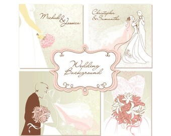 Wedding Digital clip art for wedding invites, scrapbooking. 4 Printable Wedding Invitation Card Templates