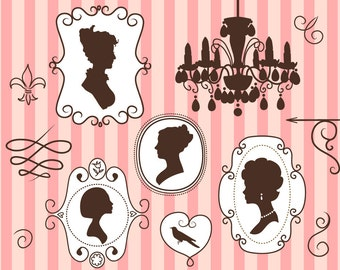 Elegant frames and Silhouettes clip art doodle set and digital paper