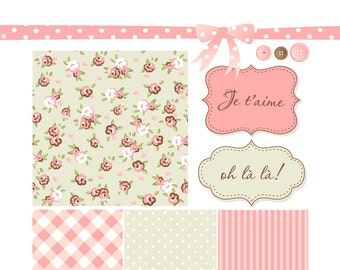 Shabby Chic Digital Scrapbook Papers. Rose pattern Paper and Clip Art Pack, ideal for wedding or birthday