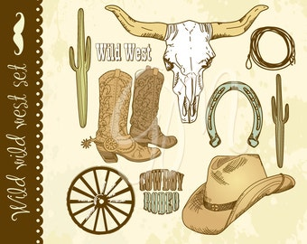 Cowboy clipart and digital scrapbooking paper pack Wild West -boys, birthday, party, cowboy, western, farwest, colt, sheriff,