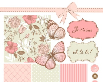 Shabby Chic Digital Scrapbook Papers. Garden flowers Paper and Clip Art Pack