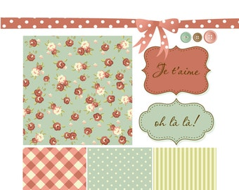 Shabby Chic Digital Scrapbook Papers. Roses pattern Paper and Clip Art Pack