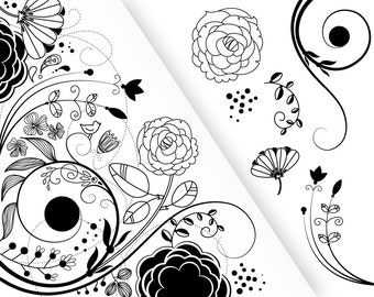 7 Flower Designs and a floral border - Clipart for scrapbooking, wedding invitation cards, Personal and Small Commercial Use.
