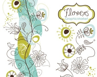 14 Flower Designs and a floral border - Clipart for scrapbooking, wedding invitation cards, Personal and Small Commercial Use.
