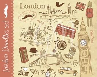 London clip art and digital paper set and vintage digital paper