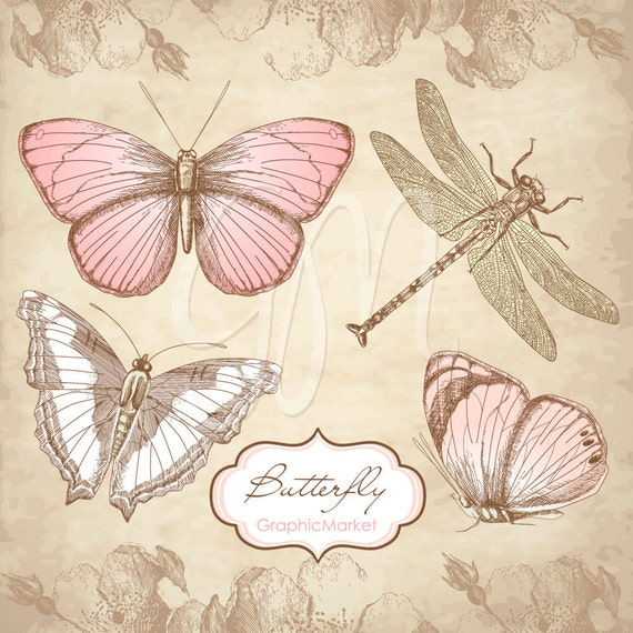 Butterfly Clip Art and digital paper, Hand-drawn Butterfly Digital Scrapbook Embellishments in vintage style