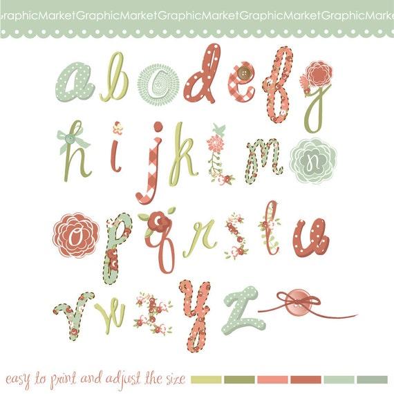 Hand drawn floral Alphabet Digital Collage Sheet