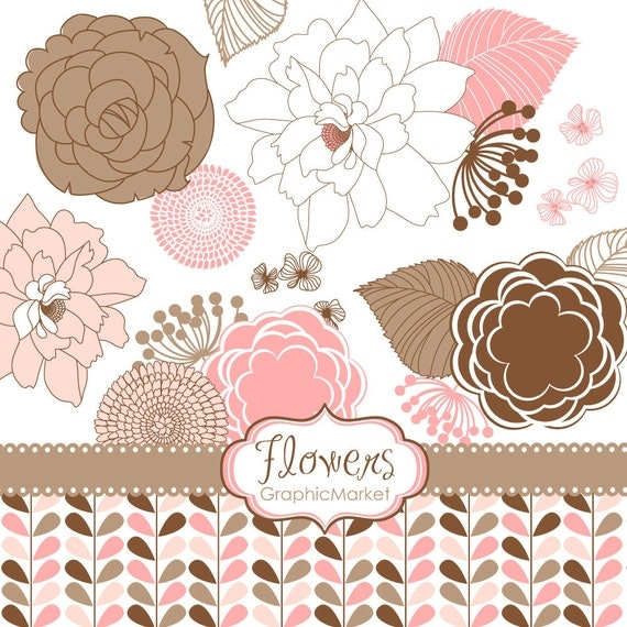 18 Flower Designs - Clipart and Digital paper for scrapbooking, wedding invitation cards, Personal and Small Commercial Use.